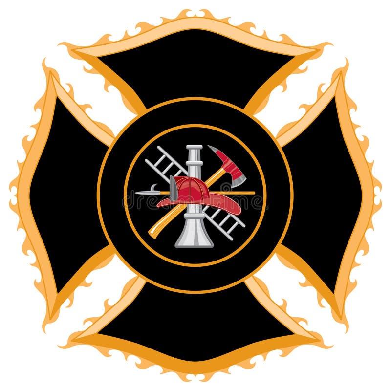Símbolo da cruz maltesa do departamento dos bombeiros ilustração royalty free