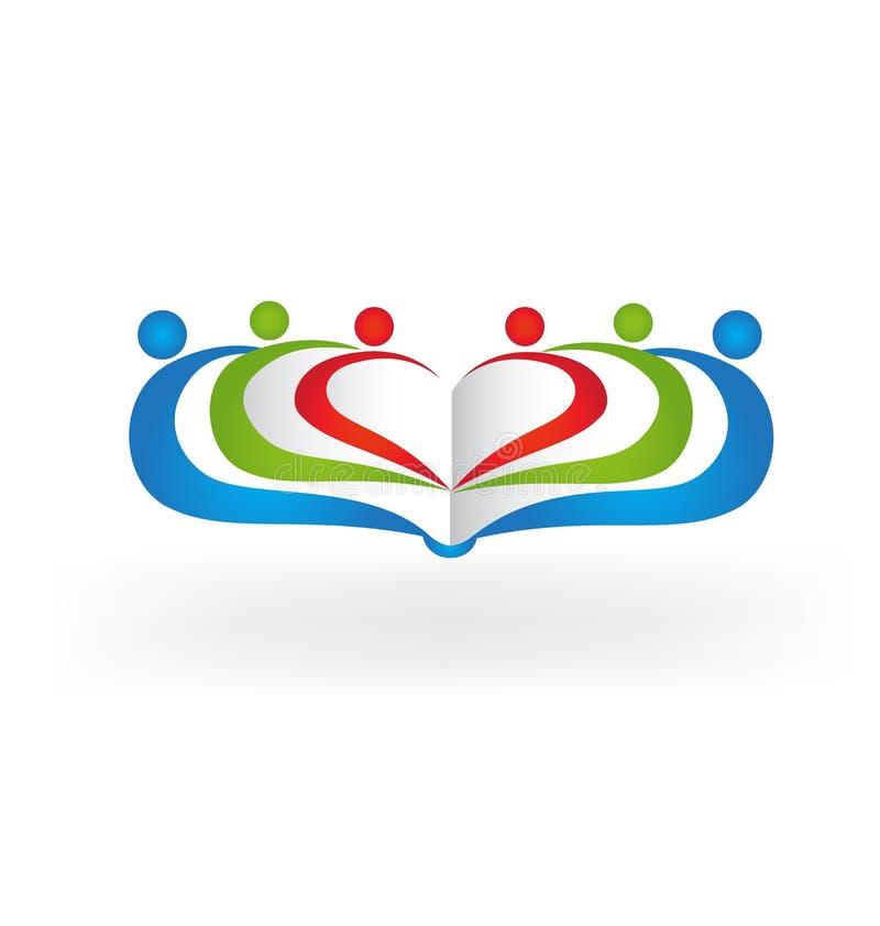 Símbolo da educação dos povos dos trabalhos de equipa do livro do logotipo ilustração stock