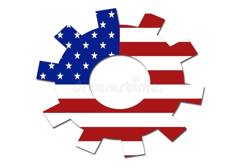 Símbolo da engrenagem da bandeira dos E.U. ilustração stock