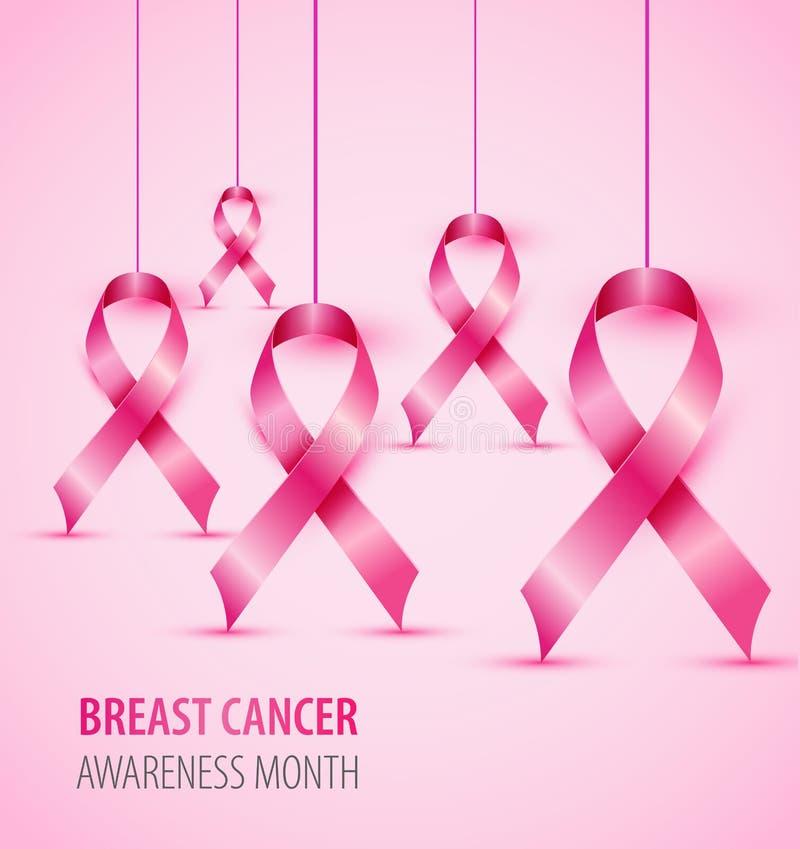 Símbolo da fita do rosa da ilustração do conceito da conscientização do câncer da mama ilustração stock
