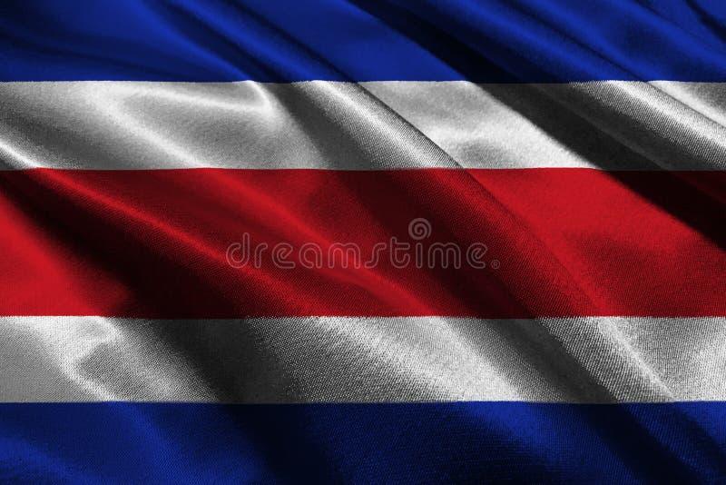 Símbolo da ilustração da bandeira 3D de Costa Rica ilustração royalty free