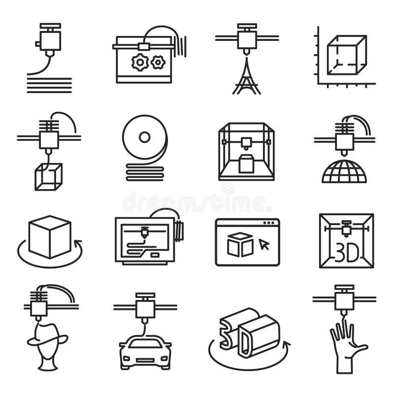 símbolo da impressão 3d, linha tridimensional grupo do ícone ilustração stock