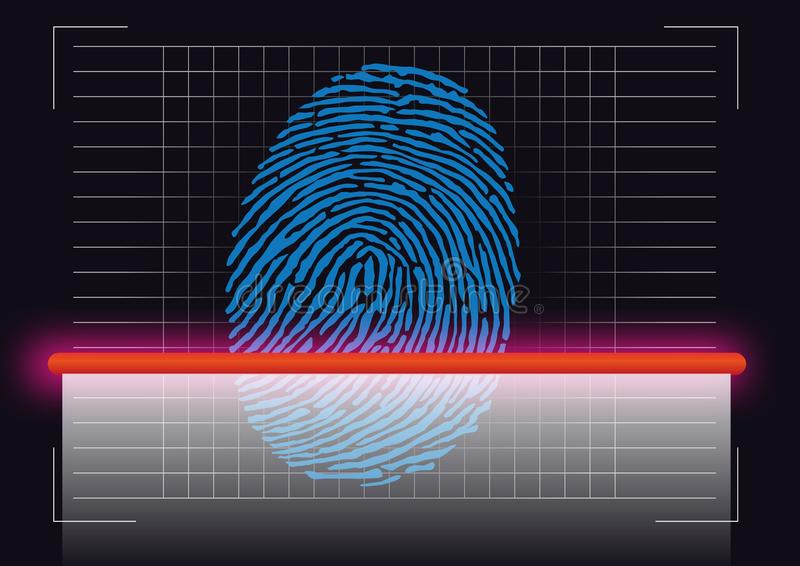 Símbolo da impressão digital tomado de uma cena do crime que seja feita a varredura para identificar a suspeita ilustração royalty free