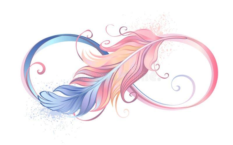 Símbolo da infinidade com pena cor-de-rosa ilustração stock