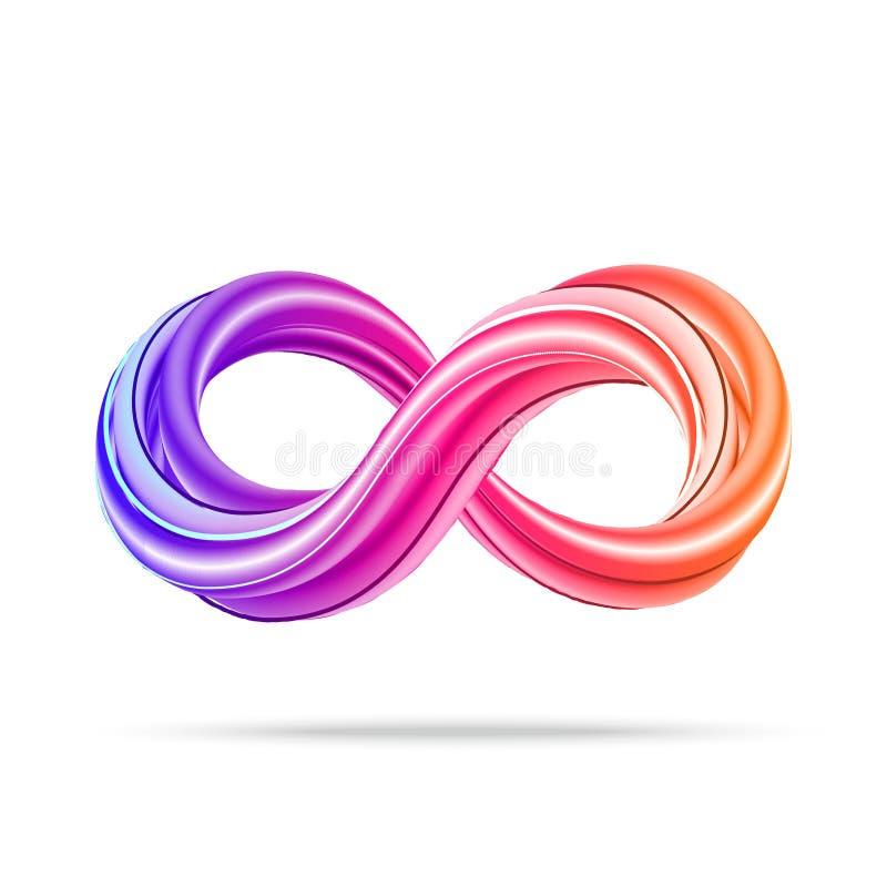símbolo da infinidade 3D Ícone colorido da infinidade ilustração do vetor