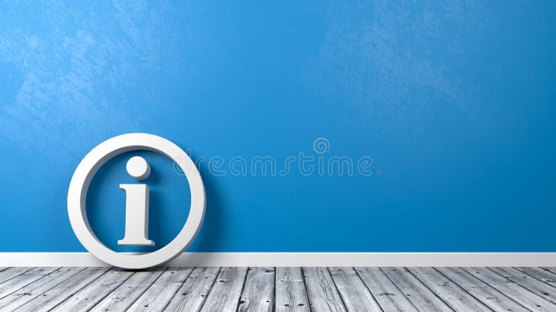 Símbolo da informação no assoalho de madeira contra a parede ilustração do vetor