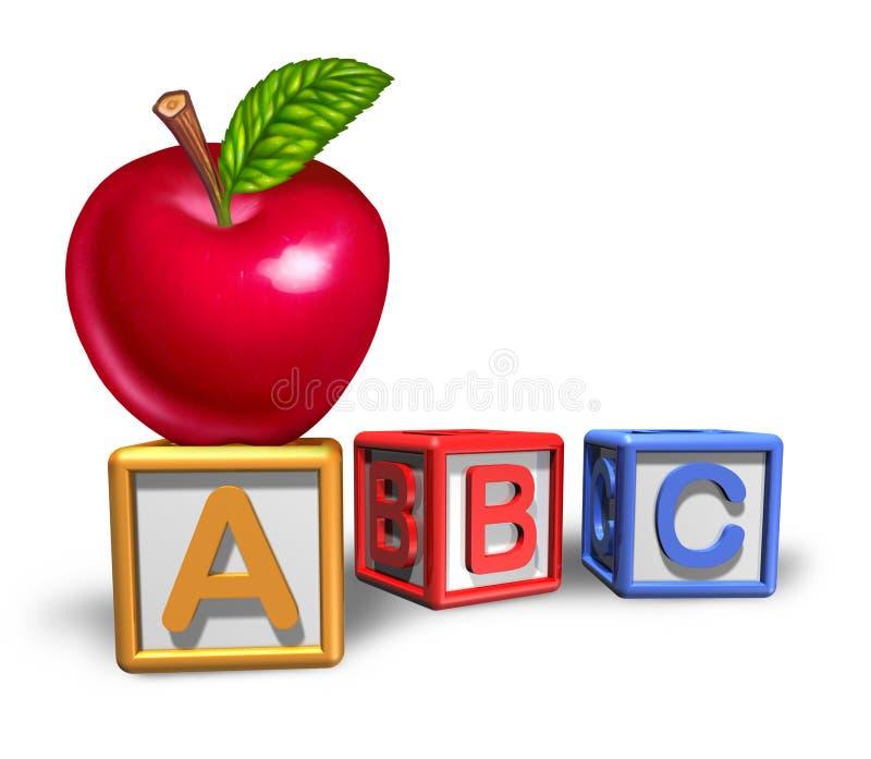 Símbolo da instrução pré-escolar com maçã ilustração stock