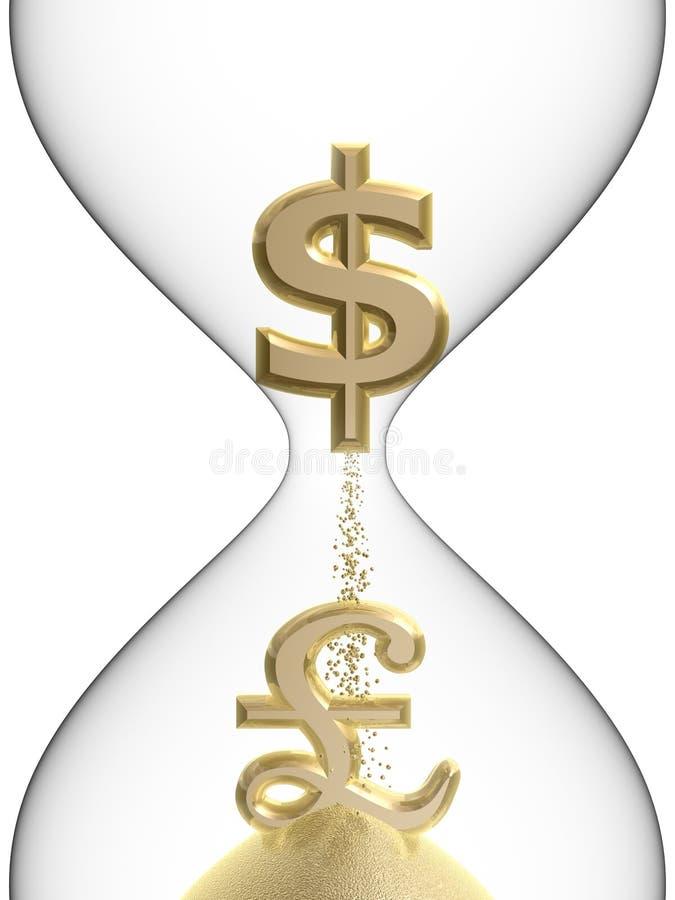 Símbolo da libra do dólar no hourglass ilustração do vetor