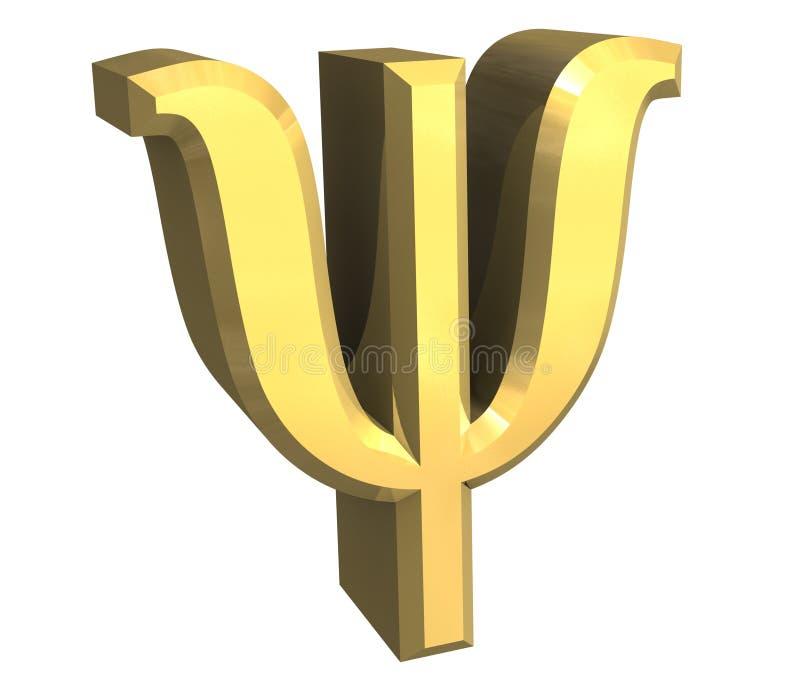 Símbolo da libra por polegada quadrada no ouro (3d) ilustração do vetor