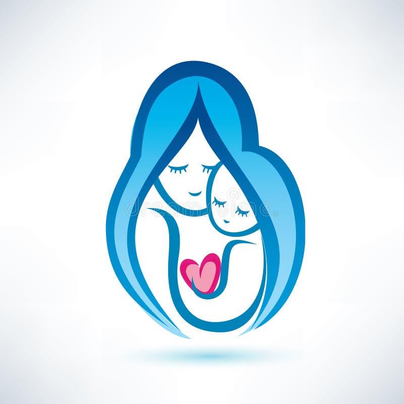 Símbolo da mãe e da criança ilustração royalty free