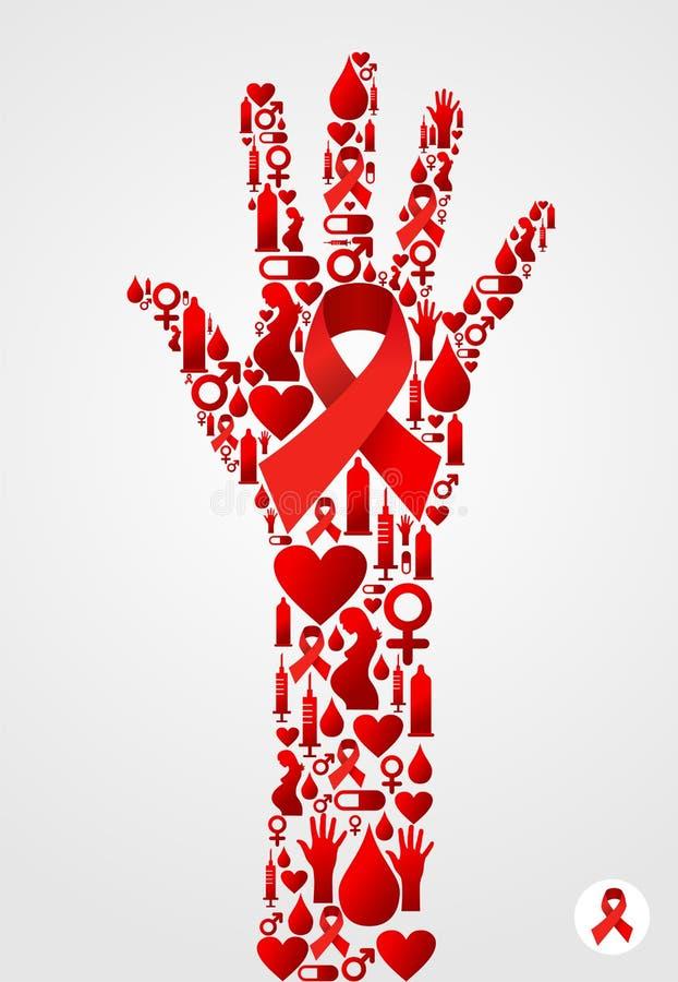 Símbolo da mão com ícones do AIDS ilustração stock