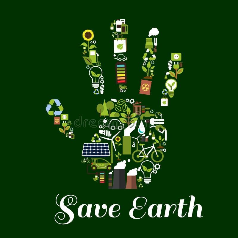 Símbolo da mão com ícones lisos da energia ecológica ilustração do vetor
