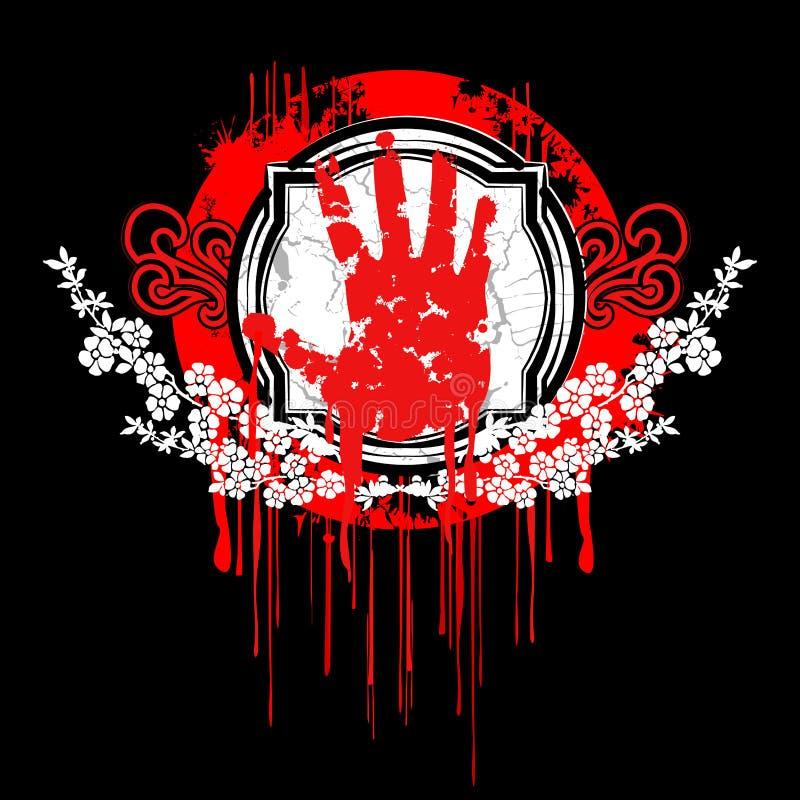 Símbolo da mão da palma do sangue. ilustração do vetor