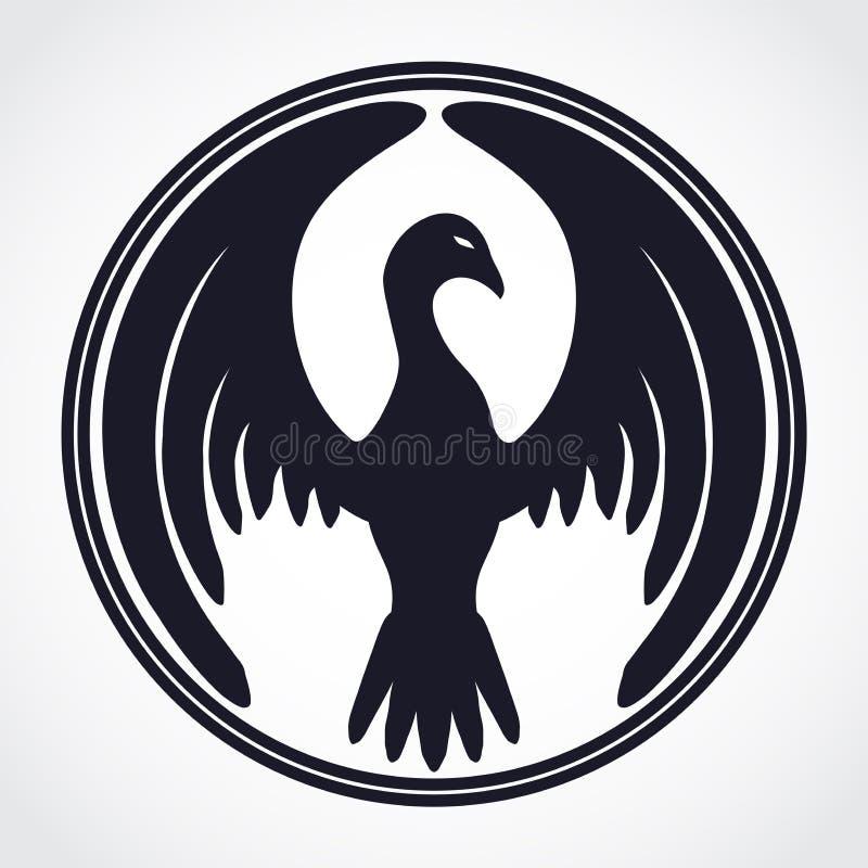 Símbolo da mascote do pássaro do círculo ilustração stock
