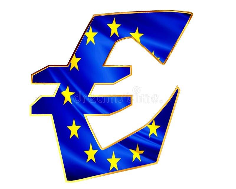 Símbolo da moeda de ouro euro- com a bandeira do país em um fundo branco ilustração do vetor