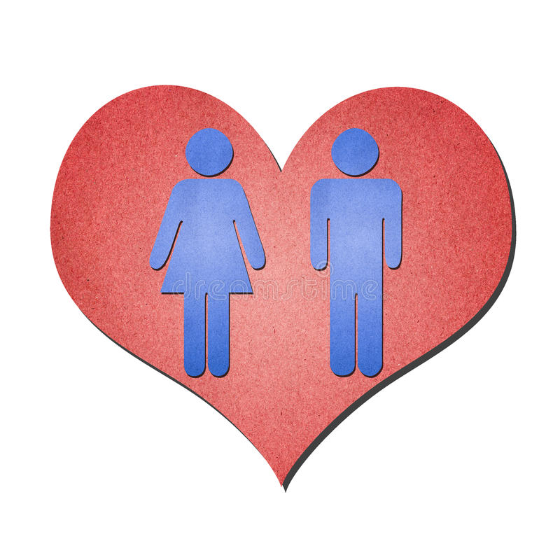 Símbolo da mulher do homem com coração foto de stock royalty free