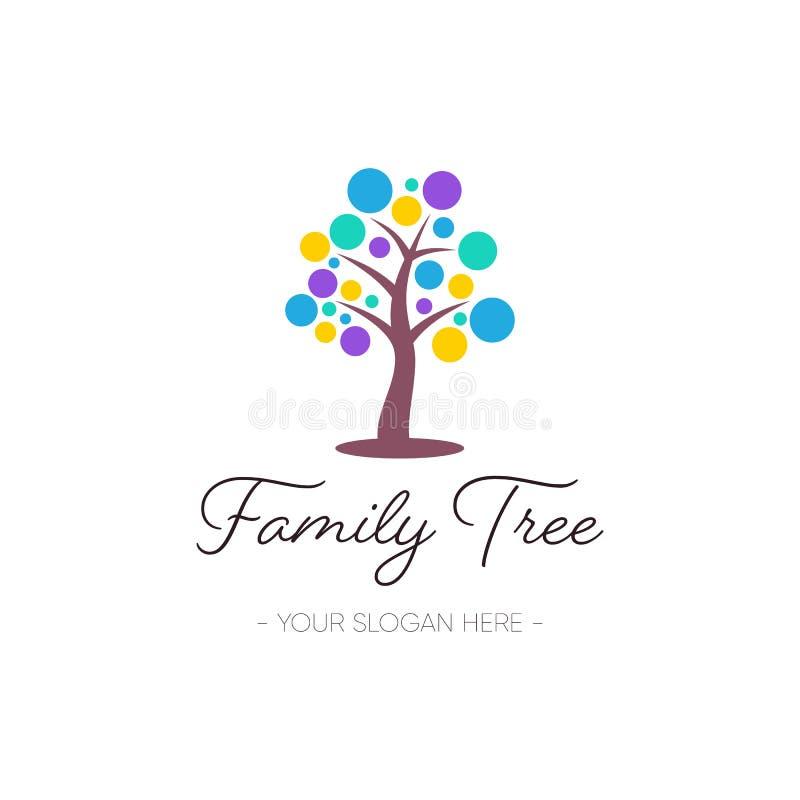 Símbolo da natureza do projeto do logotipo da árvore genealógica do vetor ilustração stock