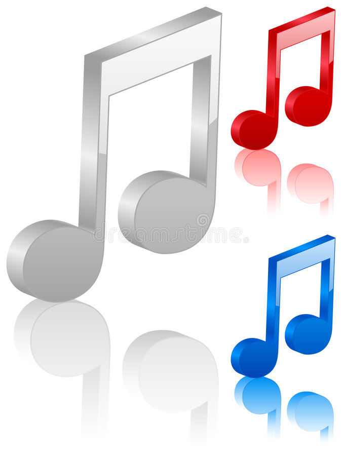 símbolo da nota da música 3D ilustração do vetor