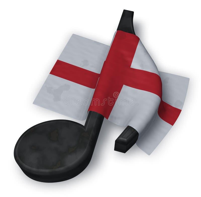 Símbolo da nota da música e bandeira inglesa ilustração do vetor