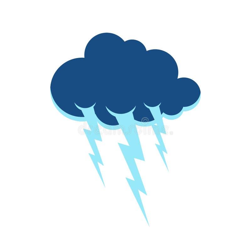 Símbolo da nuvem e do relâmpago Sinal do temporal Ico do tempo da tempestade ilustração do vetor