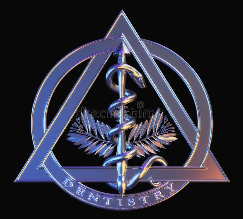Símbolo da odontologia do cromo ilustração do vetor