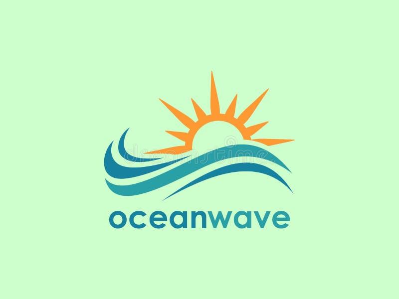 Símbolo da onda do mar e ícone Logo Template ilustração stock