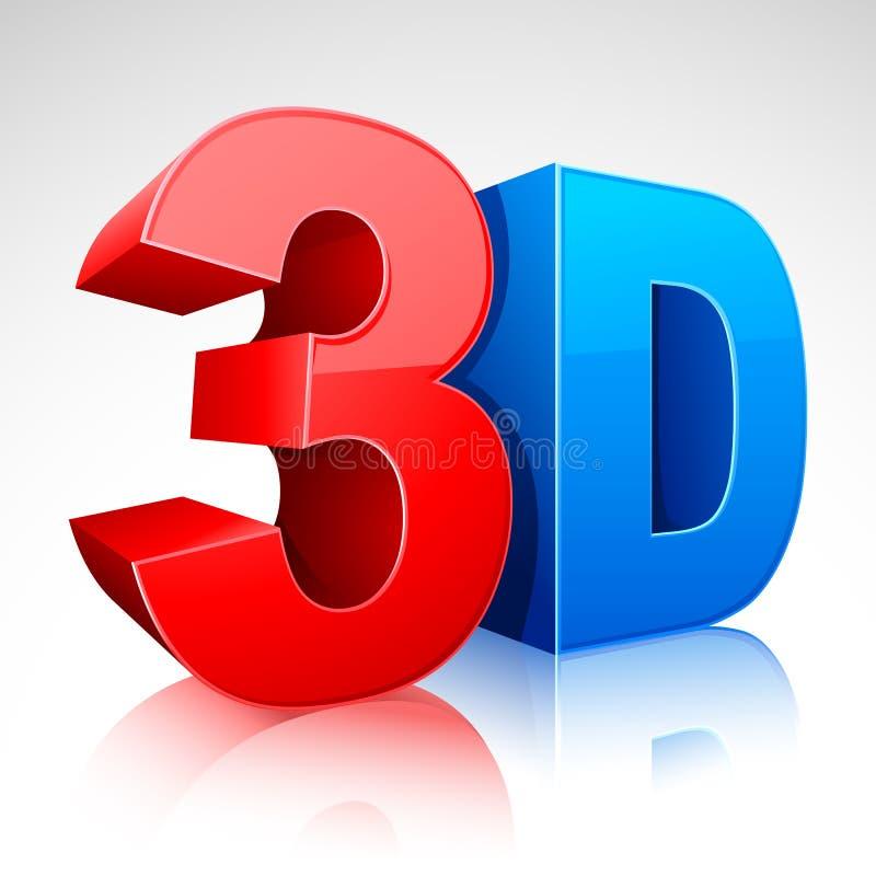 símbolo da palavra 3D ilustração do vetor