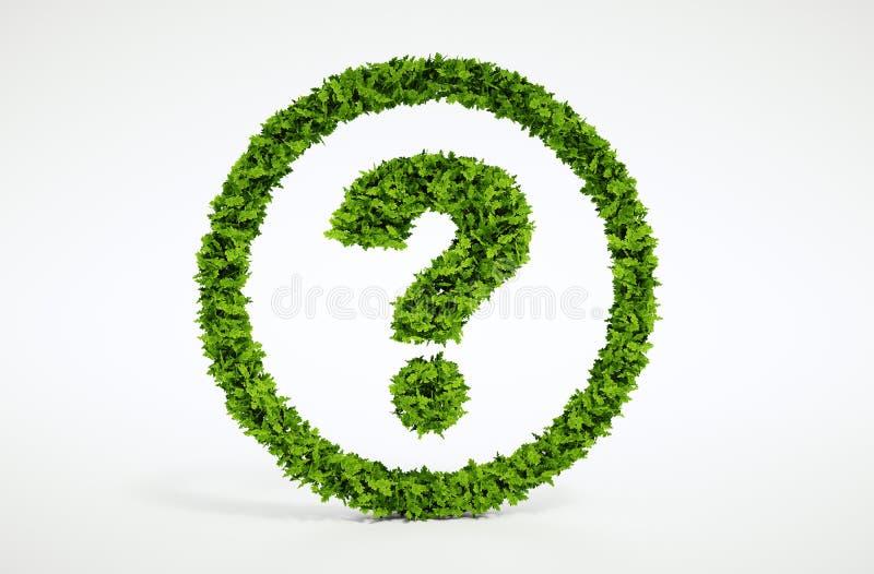 Símbolo da pergunta da ecologia com fundo branco imagens de stock