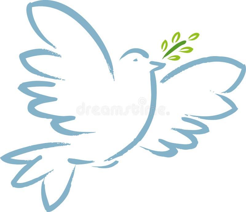 Símbolo da pomba da paz com ramo de oliveira Estilo em linha direta ilustração stock