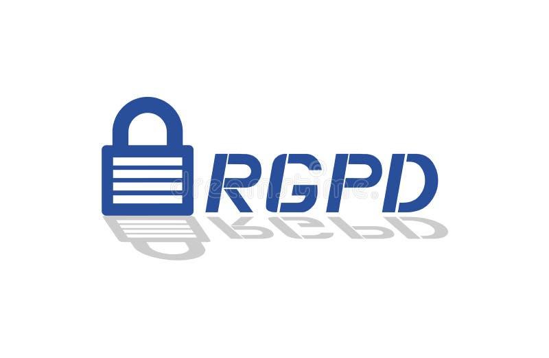 Símbolo da proteção de dados de RGPD, no espanhol ilustração royalty free