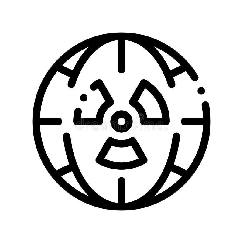 Símbolo da radiação e linha fina ícone do vetor do planeta ilustração do vetor