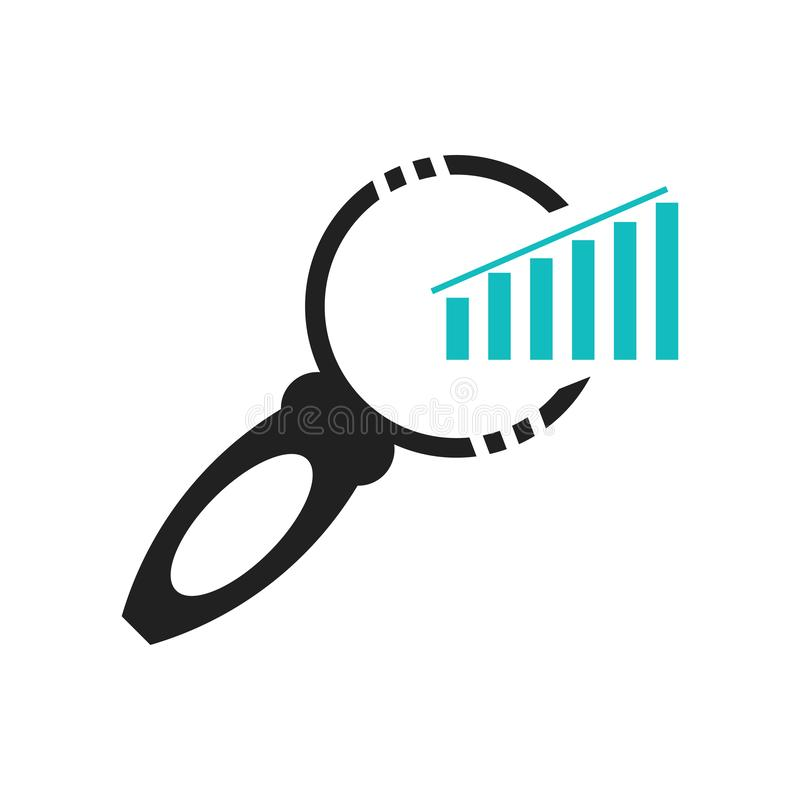 Símbolo da relação da busca dos dados de um gráfico das barras com um sinal do vetor do ícone da ferramenta da lente de aumento e ilustração royalty free