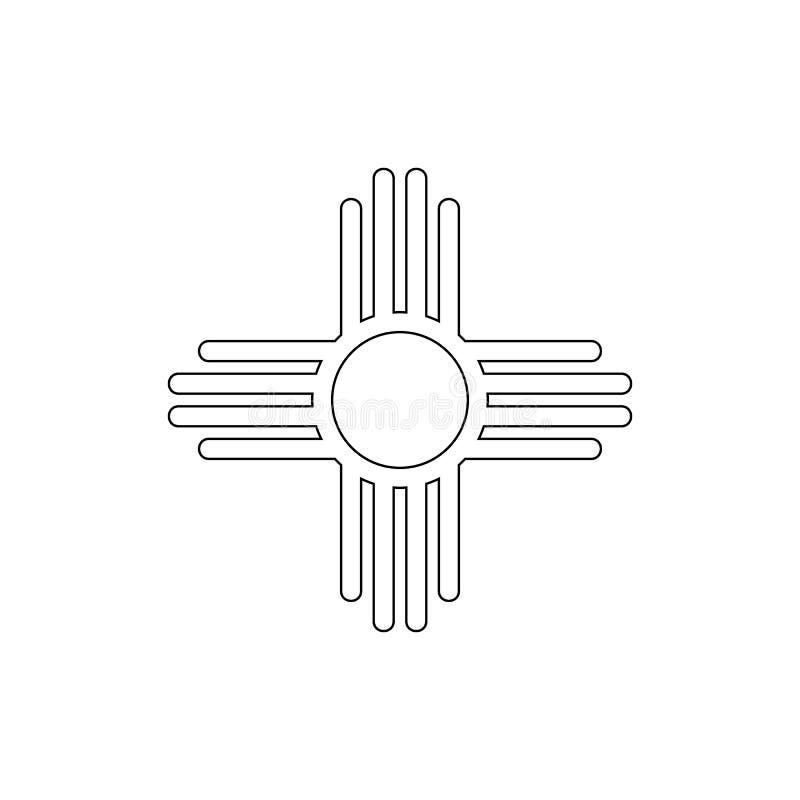 Símbolo da religião, ícone do esboço do sol do nativo americano Elemento da ilustra??o do s?mbolo da religi?o Os sinais e o ?cone ilustração royalty free