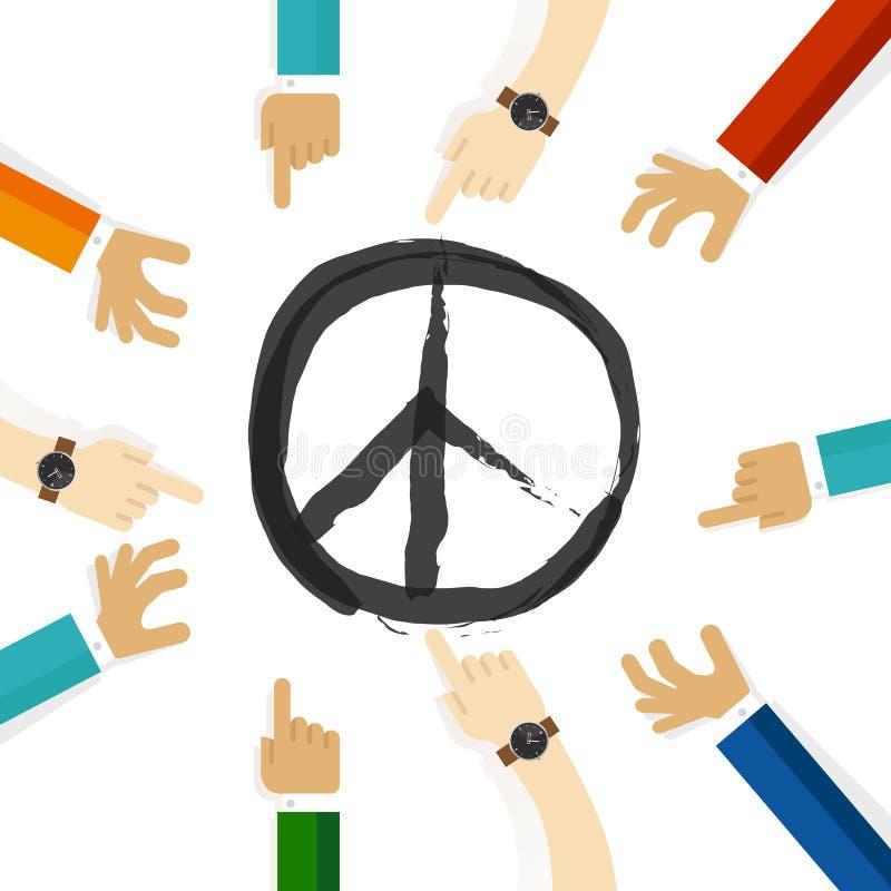 Símbolo da resolução do conflito da paz da cooperação internacional do esforço junto na comunidade e na tolerância ilustração stock