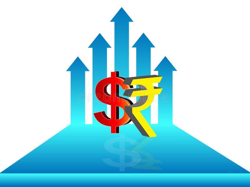Símbolo da rupia indiana & do dólar com ilustração crescente da seta, ilustração do vetor
