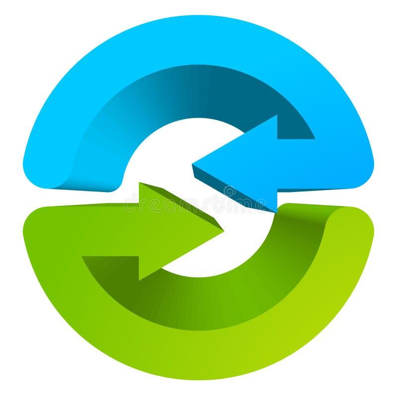 Símbolo da seta/ícone circulares azuis e verdes ilustração royalty free