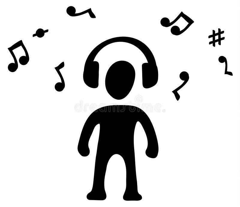 Símbolo da silhueta da música dos fones de ouvido ilustração royalty free