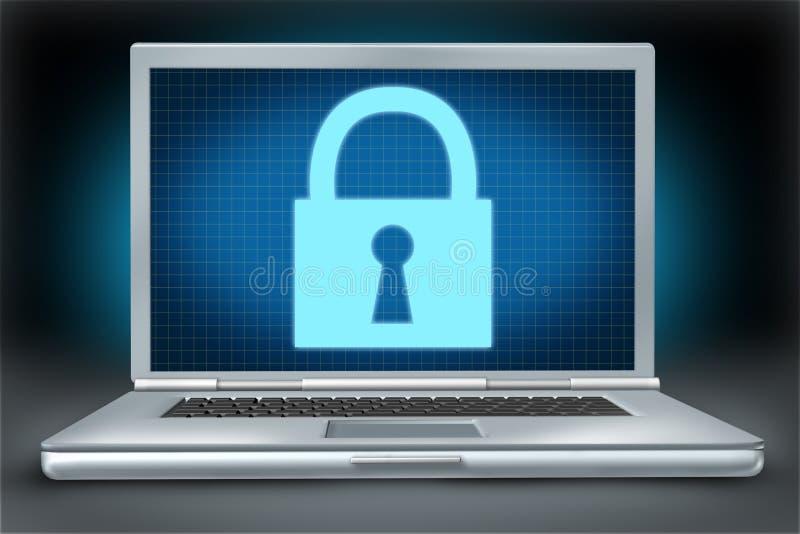 Símbolo da tecnologia de Securitylaptop do firewall network ilustração royalty free
