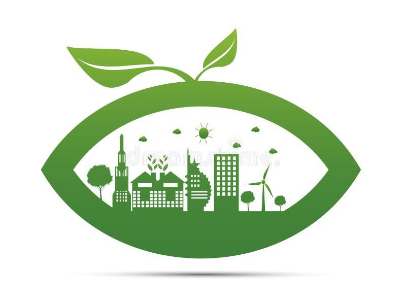 Símbolo da terra com folhas do verde ao redor Ecologia As cidades verdes ajudam o mundo com ideias eco-amigáveis do conceito ilustração do vetor