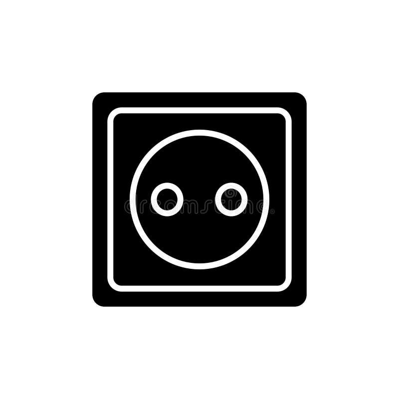 Símbolo da tomada elétrica do Glyph Pinctogram do soquete de poder ?cone do soquete da tomada ilustração do vetor