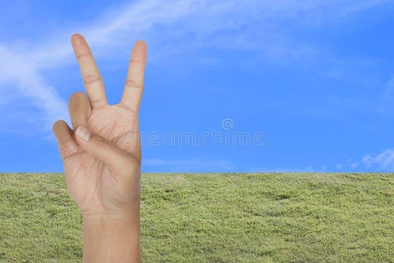 Símbolo da vitória à mão com o backgrou da grama verde e do céu azul fotos de stock royalty free