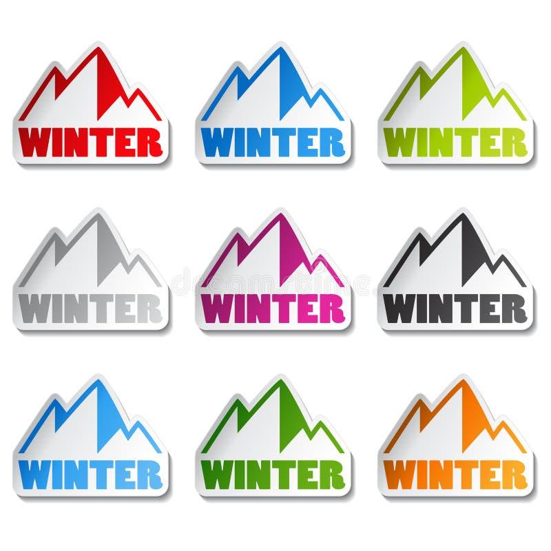 Símbolo das montanhas - etiqueta do inverno ilustração stock
