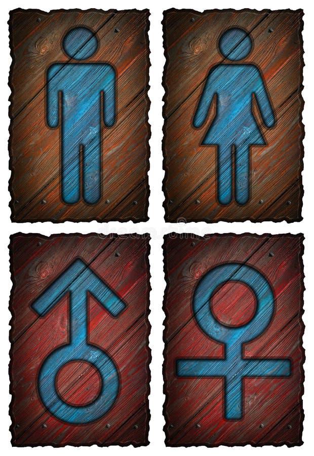 Símbolo das mulheres dos homens isolado ilustração stock