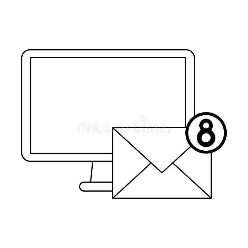 Símbolo das notificações do computador e do e-mail preto e branco ilustração stock
