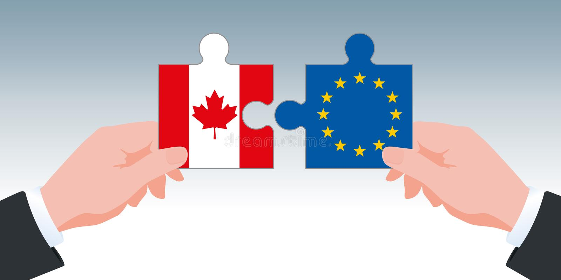 Símbolo de AECG y acuerdo comercial de Canadá-Europa, con dos manos llevando a cabo pedazos del rompecabezas en los colores de su stock de ilustración