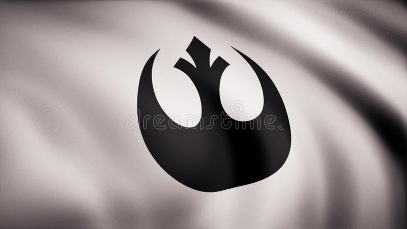 Símbolo de Alliance do rebelde de Star Wars na bandeira O tema dos Star Wars Uso do editorial somente ilustração do vetor