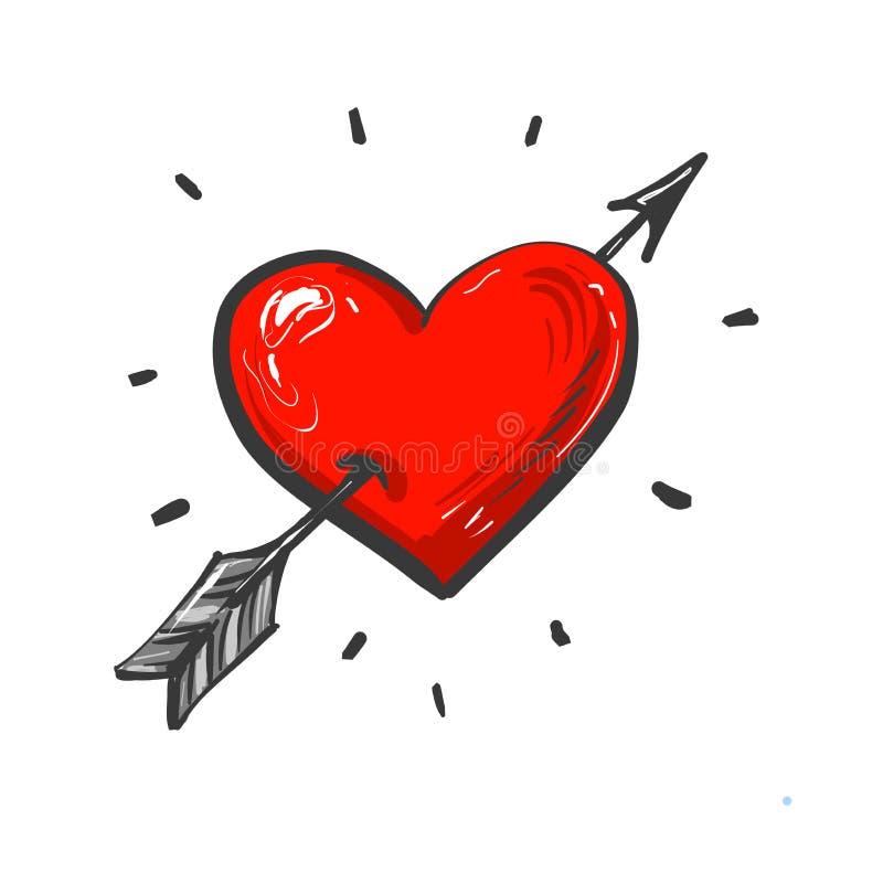 Símbolo de amour con icono dibujado a mano por el corazón y la flecha libre illustration
