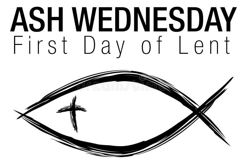 Símbolo de Ash Wednesday Jesus Christian Fish stock de ilustración
