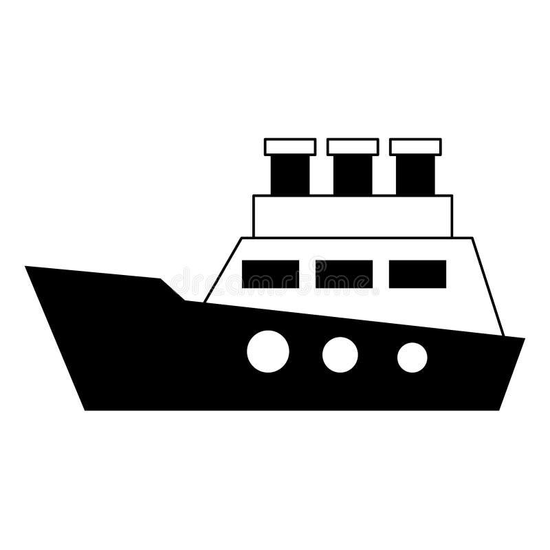 Símbolo de barco do navio do cruzador isolado em preto e branco ilustração do vetor
