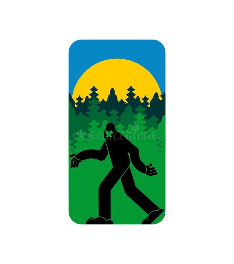 Símbolo de Bigfoot y de las montañas Muestra del yeti y del bosque libre illustration